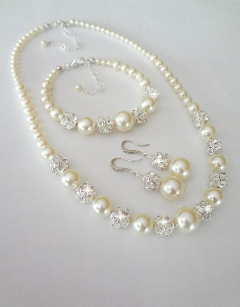 Pearl Jewelry Set, Swarovski, 3 piece, Bracelet, Earrings, Necklace, Gift for Bride, Mother, Backdrop Necklace , Swarovski, Bridal, Wedding #pearljewelry