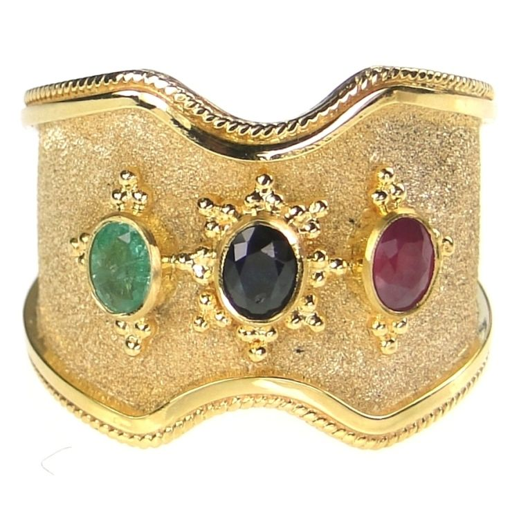 Damaskos Triple Stone Vamp Band Ring, 18k Gold, a Sapphire, Ruby and an Emerald. Athena's Treasures: http://www.athenas-treasures.com/