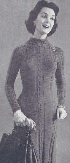 Vintage Cable Sweater Dress Knitting Pattern Knitting Pinterest