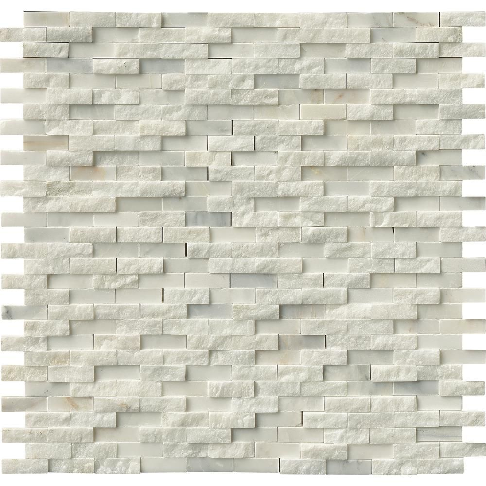 Msi Greecian White Splitface 12 In X Marble Mesh Mounted Mosaic Wall Tile