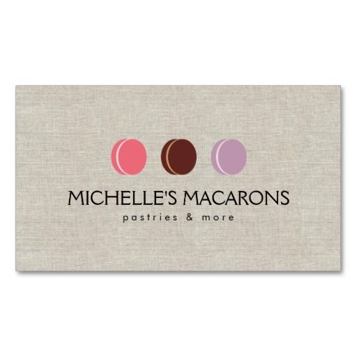 FRENCH MACARON TRIO LOGO 3 on Faux Linen Business Card Card - macaron template