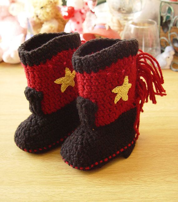 Western Cowboy Baby Booties Boots Crochet by disliltreasures, $19.95 ...