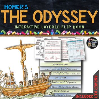 The Odyssey Reading Literature Guide And Greek Mythology Flip Book