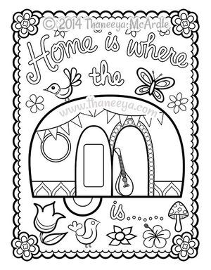 Happy Campers Coloring Book Blank Page By Thaneeya With Images Coloring Books Coloring Pages Camper Art