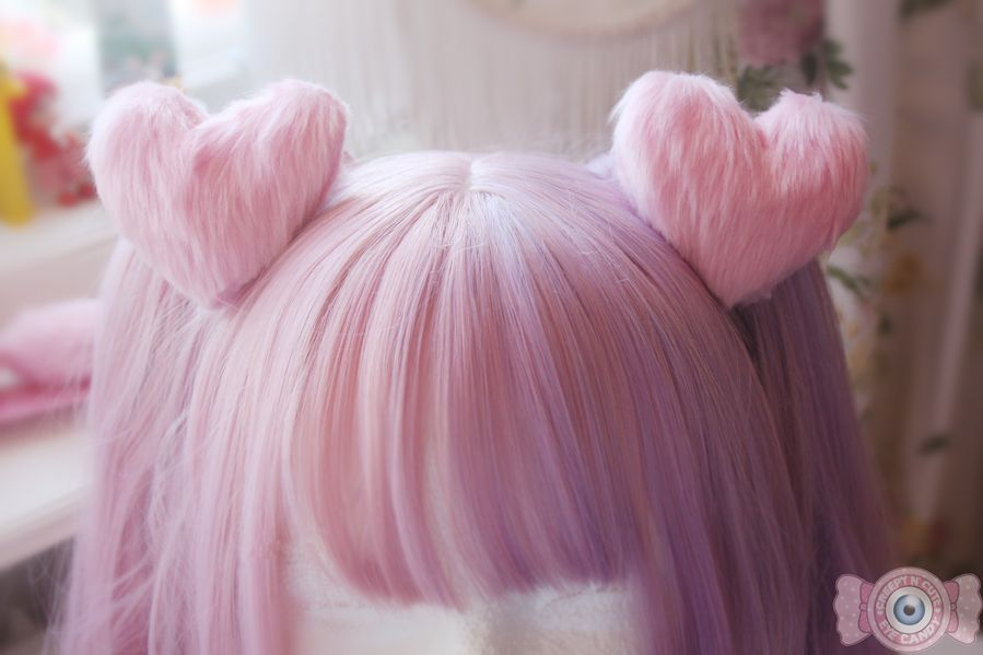 Each+heart+puff+have+a+alligator+clip+sewed+on+to+them.They+are+sold+in+pairs! Measurements:+ Diameter+9cm+ Wide:+3-4cm+ The+pretty+wig+is+from+dream+holic! https://www.etsy.com/shop/dreamholic For+tracking+to+your+package+add+this+product+to+your+order:+ http://eyecandy.storenvy.com...