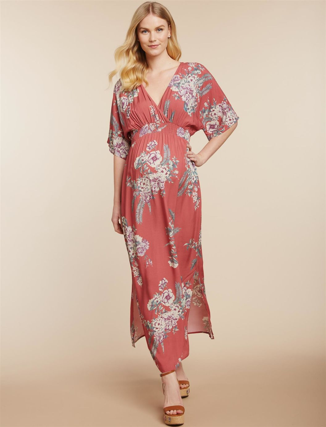 8f1ccca942d6 Baby Bump Style. Maternity Outfits. Jessica Simpson Smocked Waist Maternity  Maxi Dress