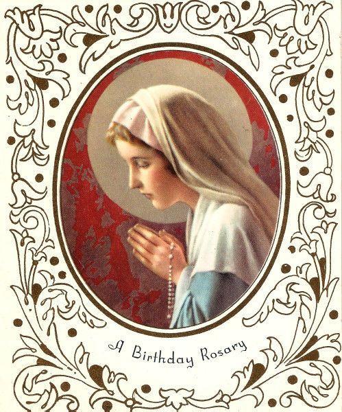 Vintage Birthday Card Madonna Rosary Praying Religious Unused