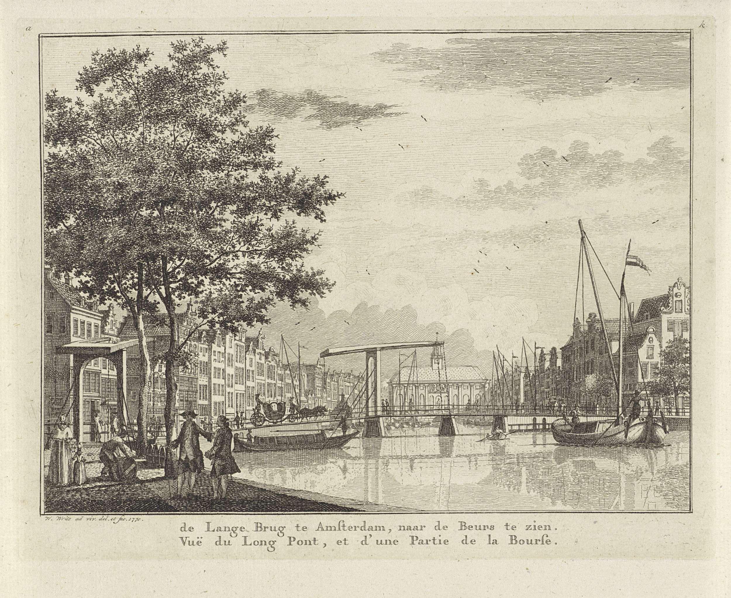Willem Writs | Gezicht op een brug bij het Rokin te Amsterdam, Willem Writs, 1770 |