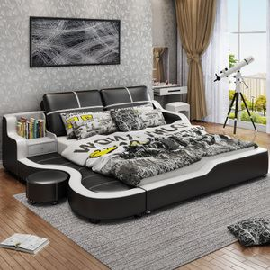 Modern minimalist leather bed tatami leather bed 1.5 / 1.8 meters master bedroom small double bed & Modern minimalist leather bed tatami leather bed 1.5 / 1.8 meters ...
