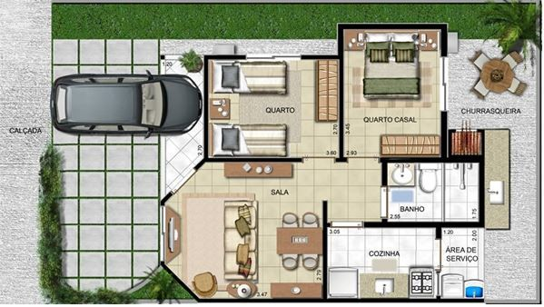 Plano de casa de 6 x 12 metros arquitectura pinterest for Modelo de casa 7 x 10
