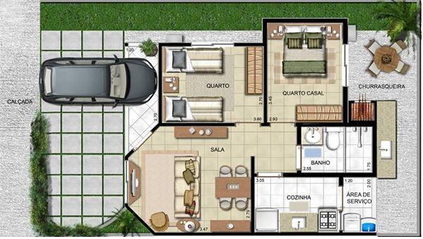 Plano de casa de 6 x 12 metros arquitectura pinterest for Casa moderna de 7 x 15