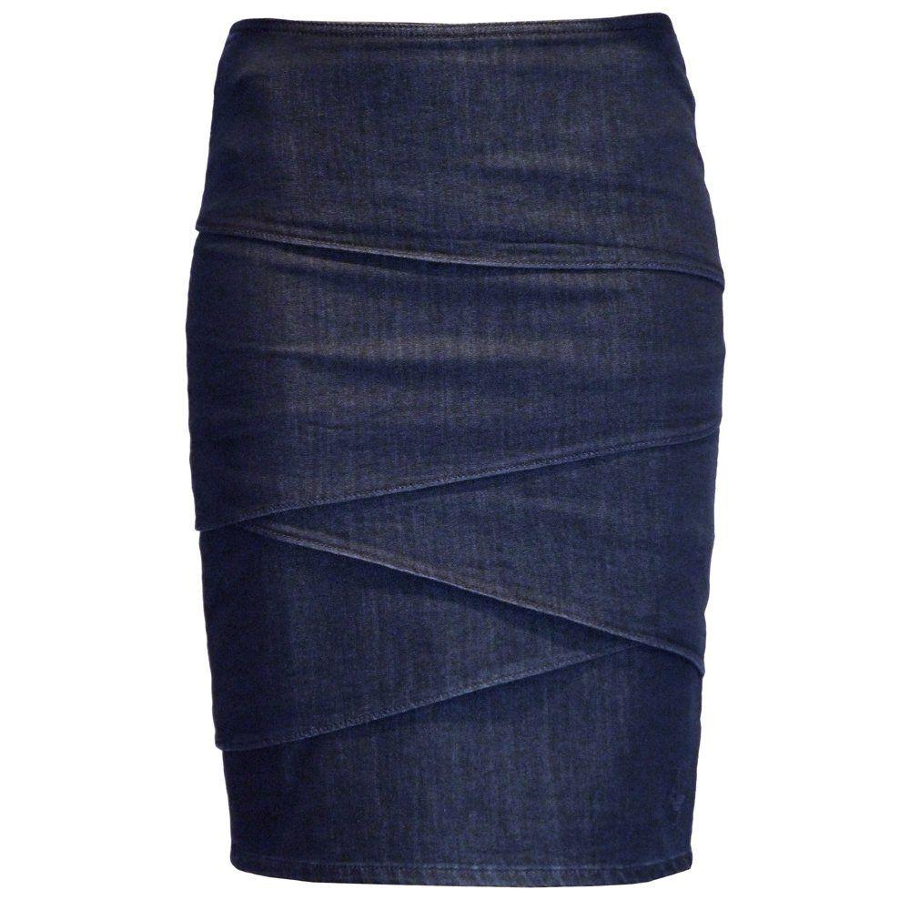 Armani Jeans Dark indigo layered frill denim pencil skirt