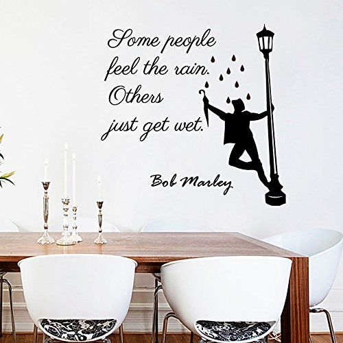 Wall Decals Quotes Some People Feel The Rain Others Just Get Wet Bob Marley Quote Vinyl Sticker Decor Murals Yoga