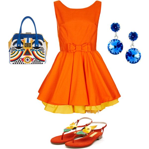 """Orange Casual Party"" by carollinali on Polyvore"