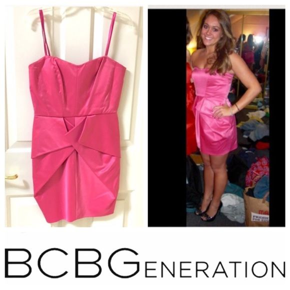 """BCBG Hot Pink Cocktail Dress BCBGeneration - Gorgeous strapless cocktail dress!! Hot pink in color. Two pleats in front that fold in a delicate way on front to create a slight peplum look. Zips up the back. Lining underneath skirt. Great condition! Has been dry cleaned. Size 2. Length: 24"""" BCBGeneration Dresses Prom"""