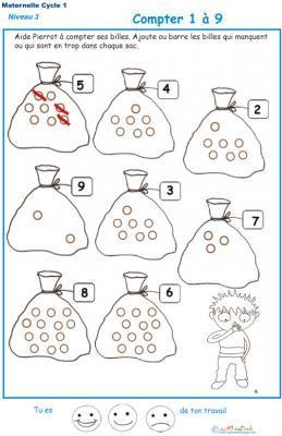 Exercice 1 dessiner le bon nombre de billes GS maternelle