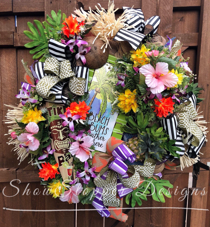 Tropical Wreath Hawaii Wreath Beach Bum Wreath Tiki Wreath Hawaiian