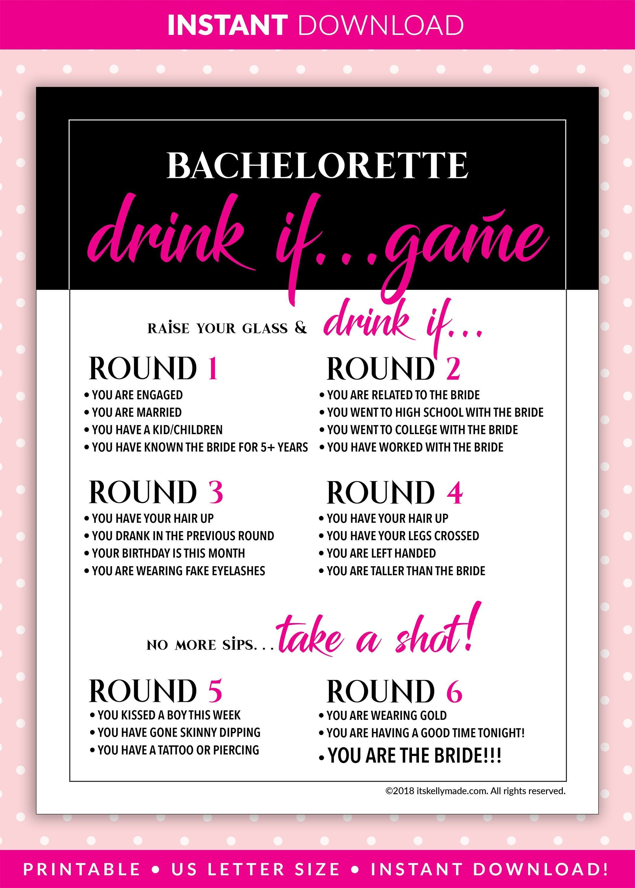 Bachelorette Party Games Drink If Game Printable Bachelorette