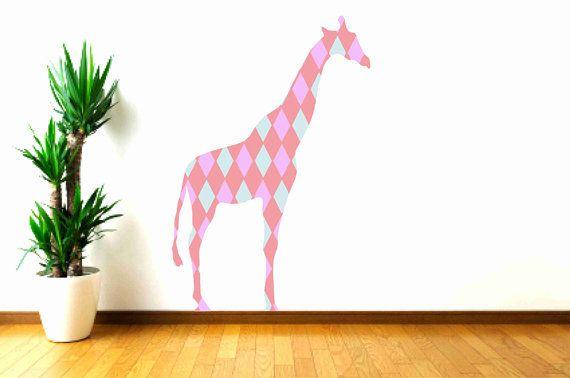 Giraffe Wall Decal Fabric with Retro Diamond Pattern by Popitay, $43.00