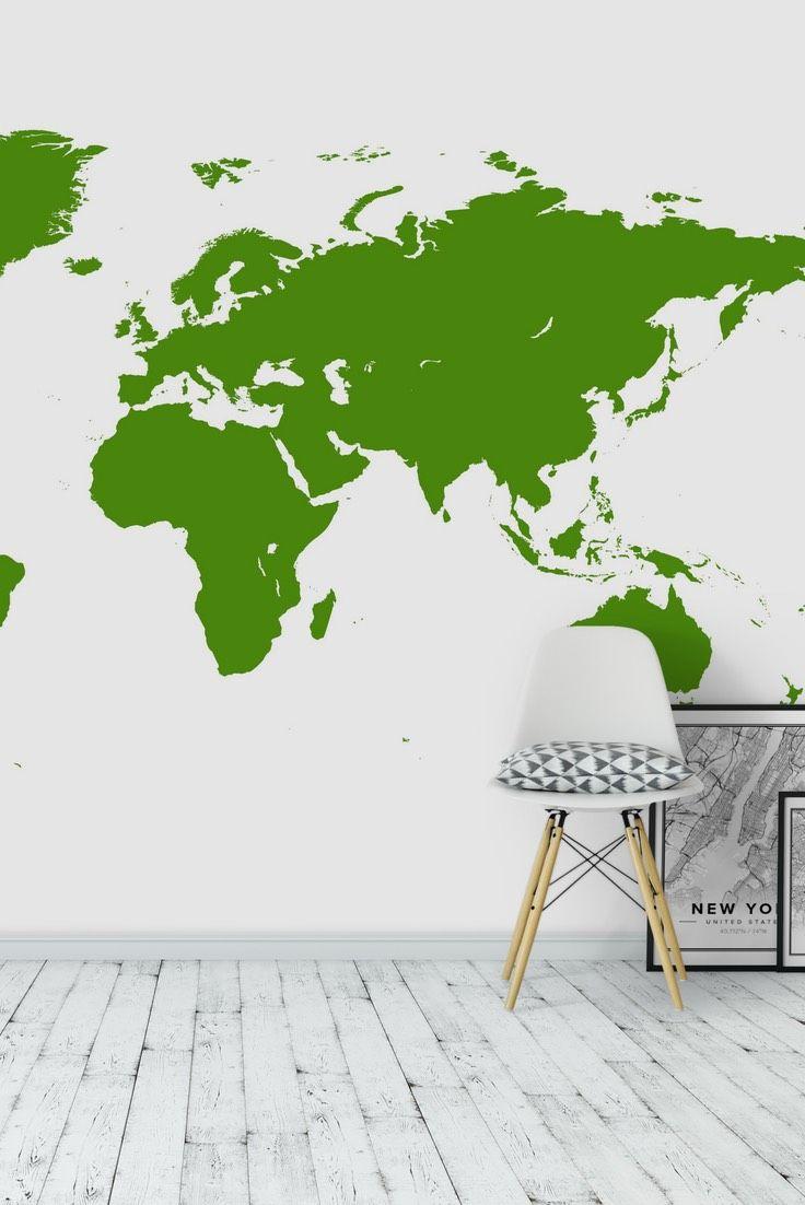 Green world map wall mural wallpaper map wall murals pinterest green world map wall mural wallpaper gumiabroncs Gallery