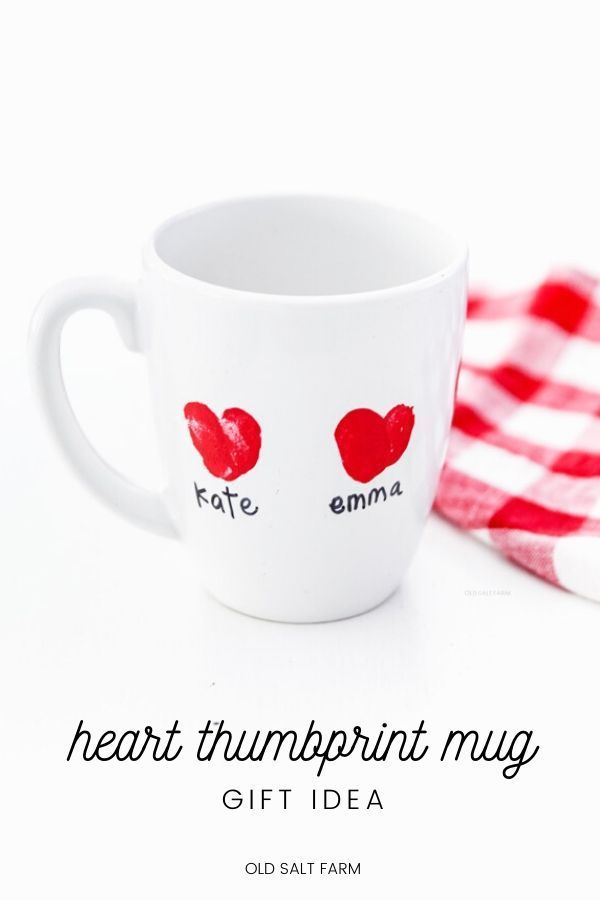 A perfect Valentine's Day gift, this darling Heart Thumbprint Mug is simple and easy to make for moms, dads, grandparents, teachers, and more! #thumbprints #thumbprintideas #thumbprintgifts #valentinesdaygifts #valentinegifts #valentineideas #valentinesdayideas #valentinesideasforgrandparents #kidsvalentinideas #valentinesdaygiftideas #hearts #heartideas #heartgifts #valentinehearts #valentinecrafts #craftpaint