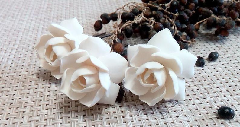 White Gardenia Hair Flower White Gardenia Hair Clip Gardenia