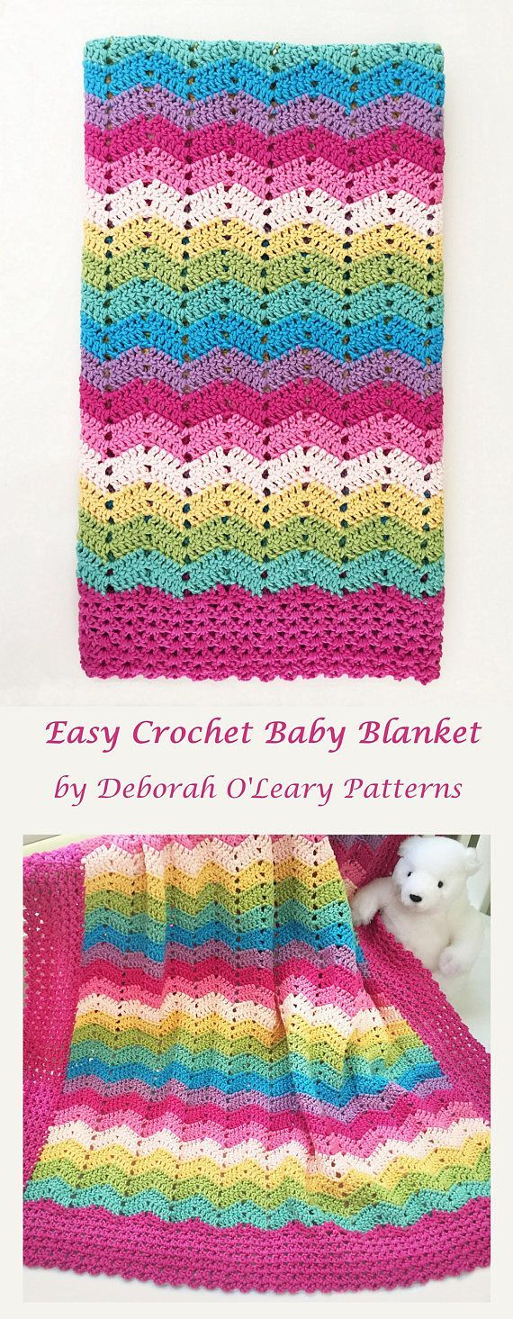 Crochet Baby Blanket Pattern Easy Ripple Baby Blanket by Deborah O ...
