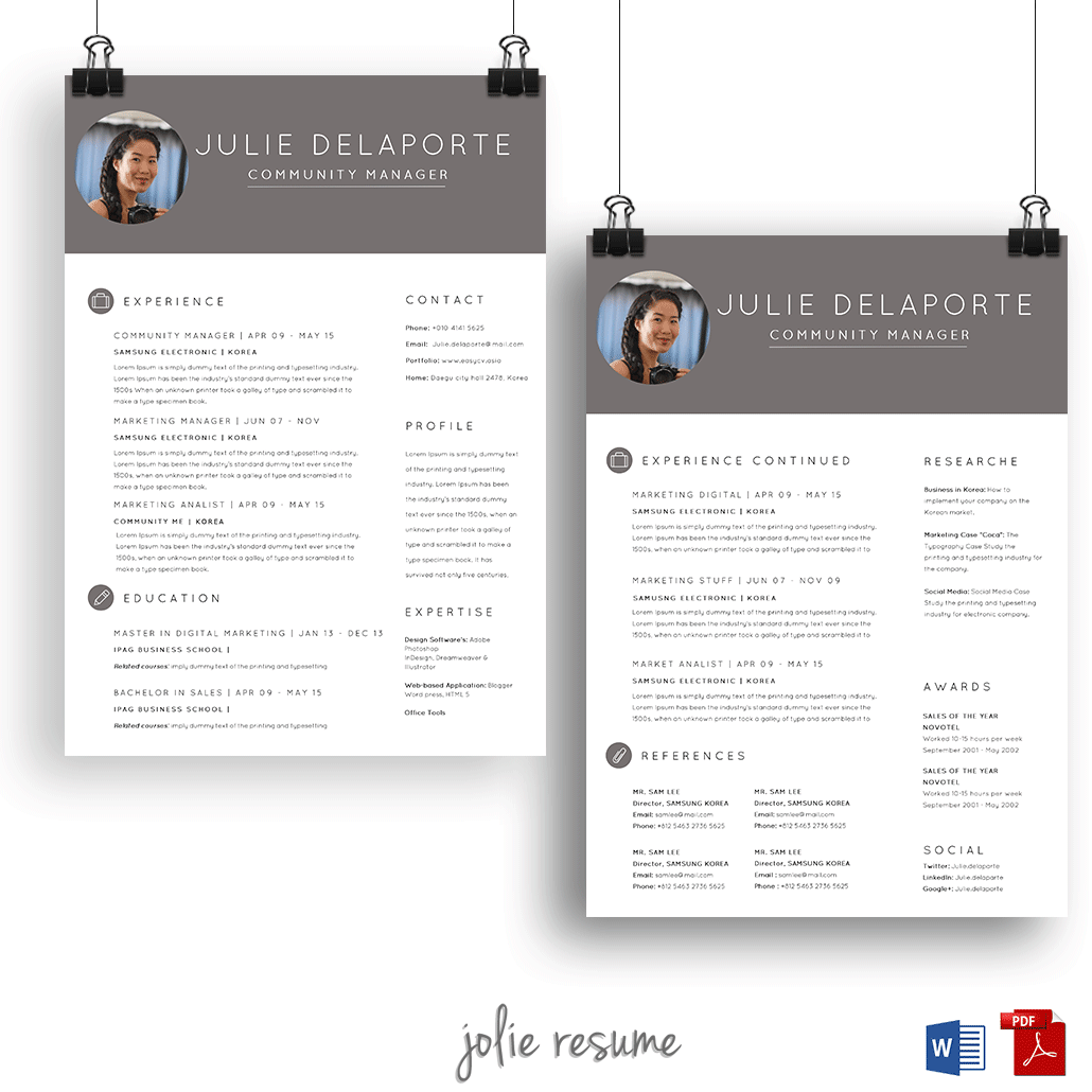 Resume Template Julie 2 Pages Ms Word Easy Etsy Modele Cv