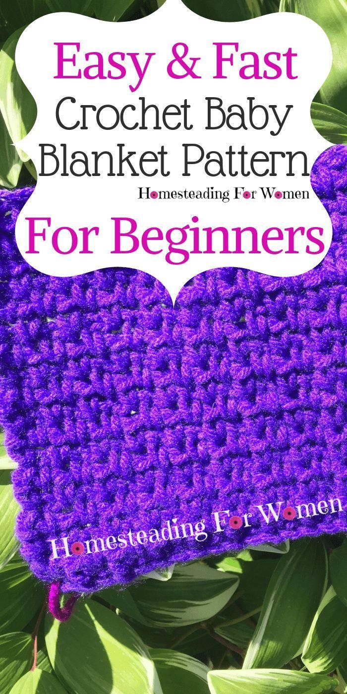 Easy Fast Free Crochet Baby Blanket Pattern For Beginners #crochetformoney
