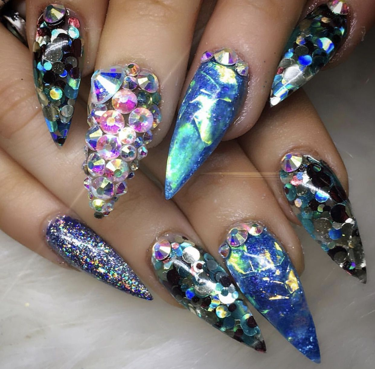 Holographic Foil Rhinestone Mermaid Stiletto Nails NailsNail Art TutorialsNail Designs