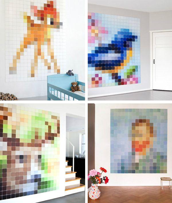 Paint Chip Pixels Pure Art Diy Wall Art Paint Swatch