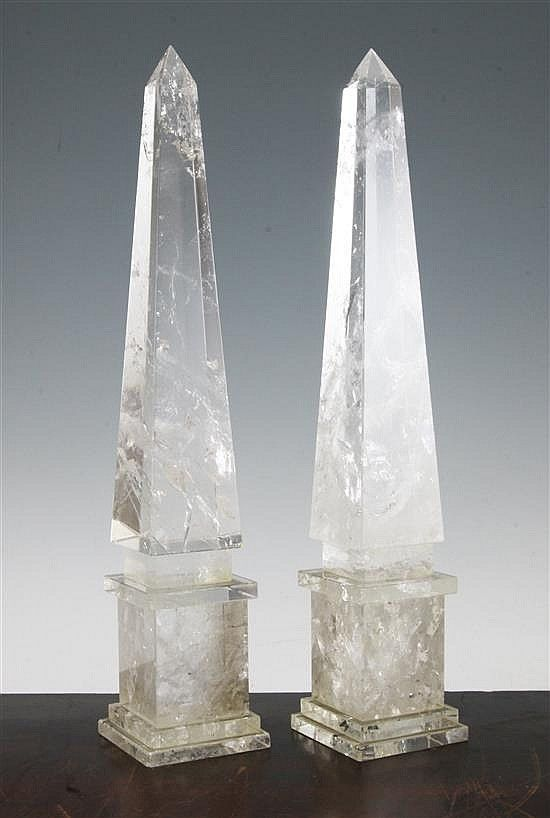 A Pair Of Rock Crystal Obelisks Of Typical Tapering Form On Stepped Plinth Bases 16 5in Obelisk Crystal Decor Crystals