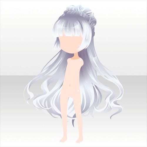 anime hair white long with bun