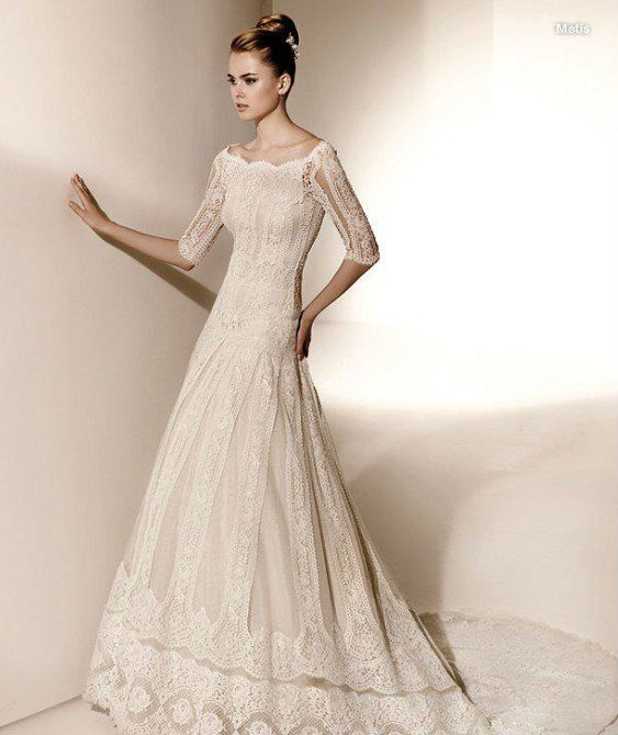 Long White Lace Dressfashion Off Shoulder Sleeve Wedding Dress In Vphvgiu