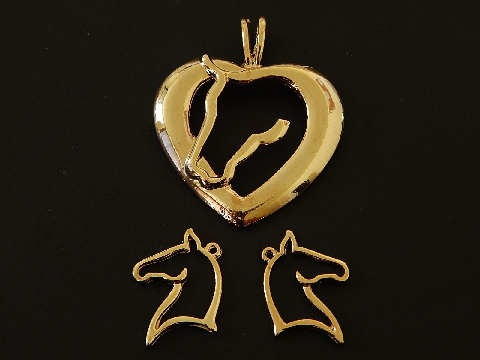 af5407917753 HVCO -13 Juego de dijes para collar y aretes vaquero caballo en chapa de oro