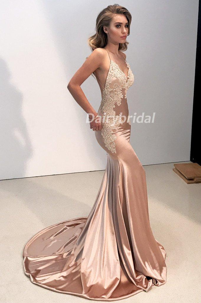 43d135d5a9fd3 Sexy Mermaid Applique V-Neck Prom Dress, Spaghetti Straps Satin Prom Dress,  D539