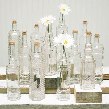 Decorative Clear Glass Bottles Pleasing Vintage Decanter Bottles & Bud Vases W Corks Clear Glass Decorating Design