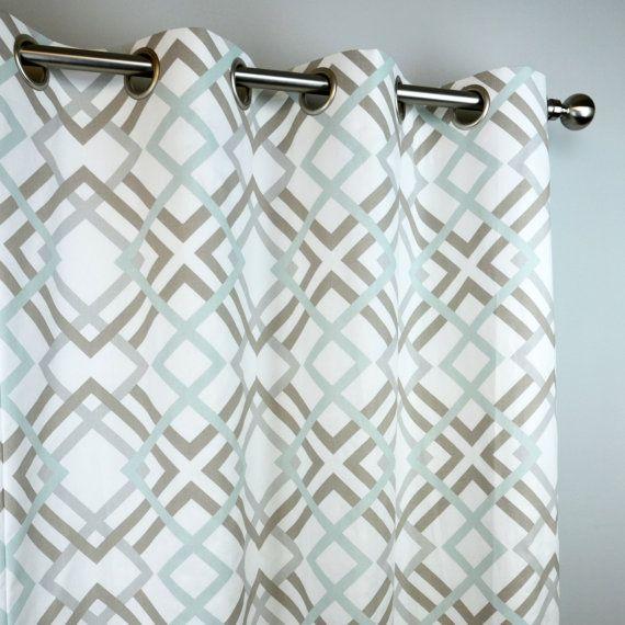 Ecru Taupe Snowy Pale Blue White Winston Modern Geometric Curtains    Grommet   84 96 108