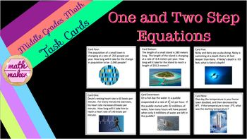 Great activity to allow students to practice writing and solving one and two step equations.  Questions vary in difficulty.  Students can check their answers using the riddle sheet.  Students can track their work using the student answer tables.  Answer key provided.