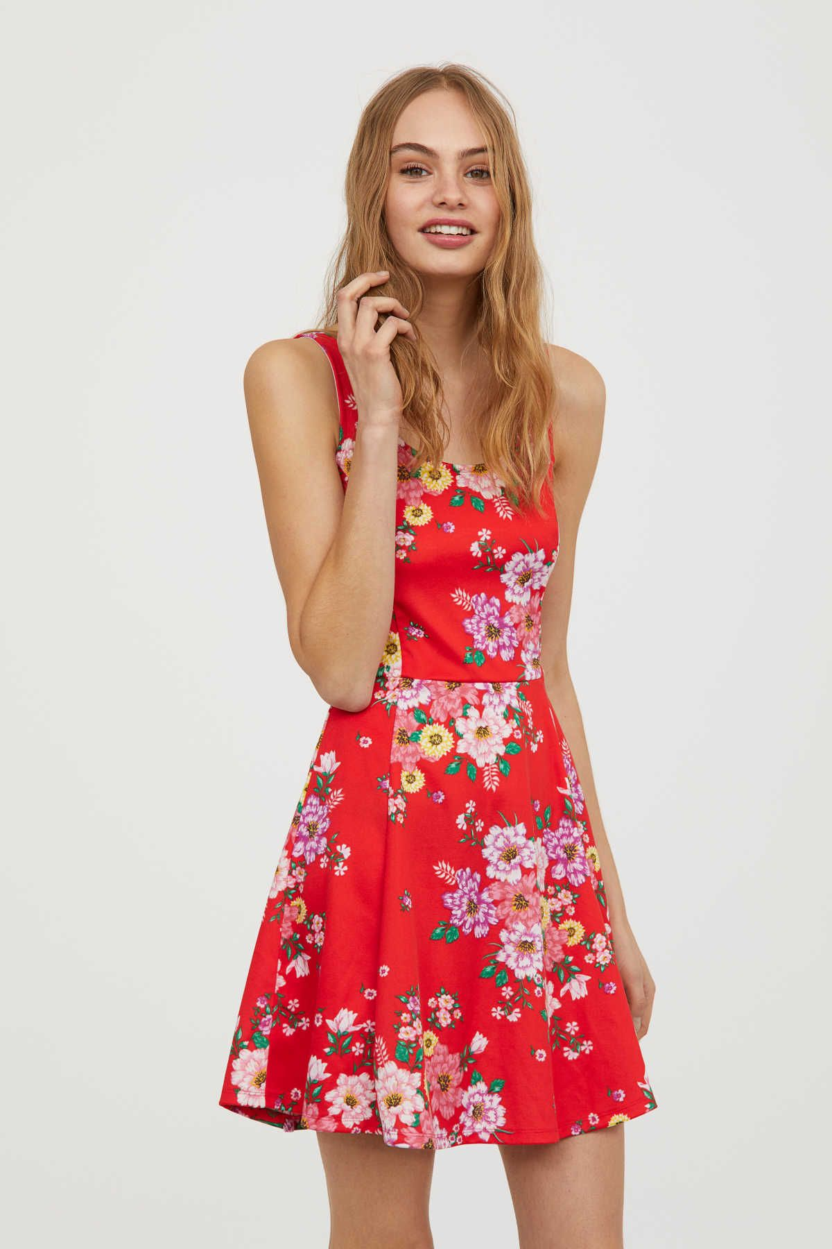 835276b4058 Jersey Dress | Bright red/floral | WOMEN | H&M US | Fashion and ...