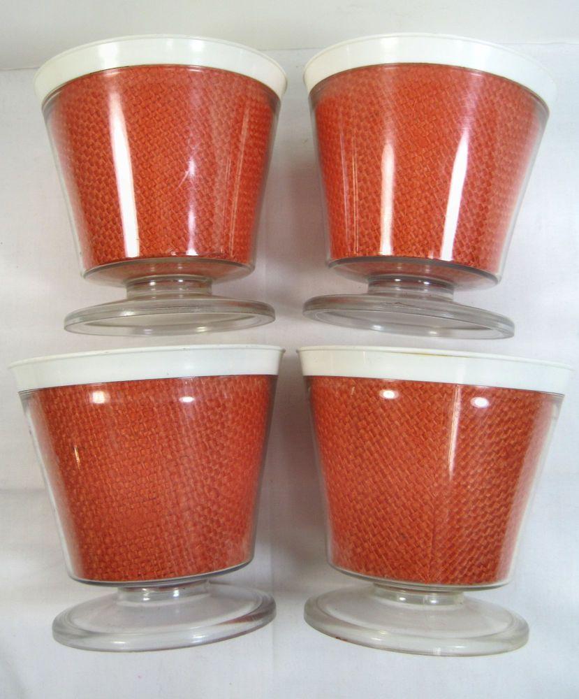 4 Vintage Burlap Straw Weave Raffia Ware Melmac Dessert Pedestal Cup Dish TiKi