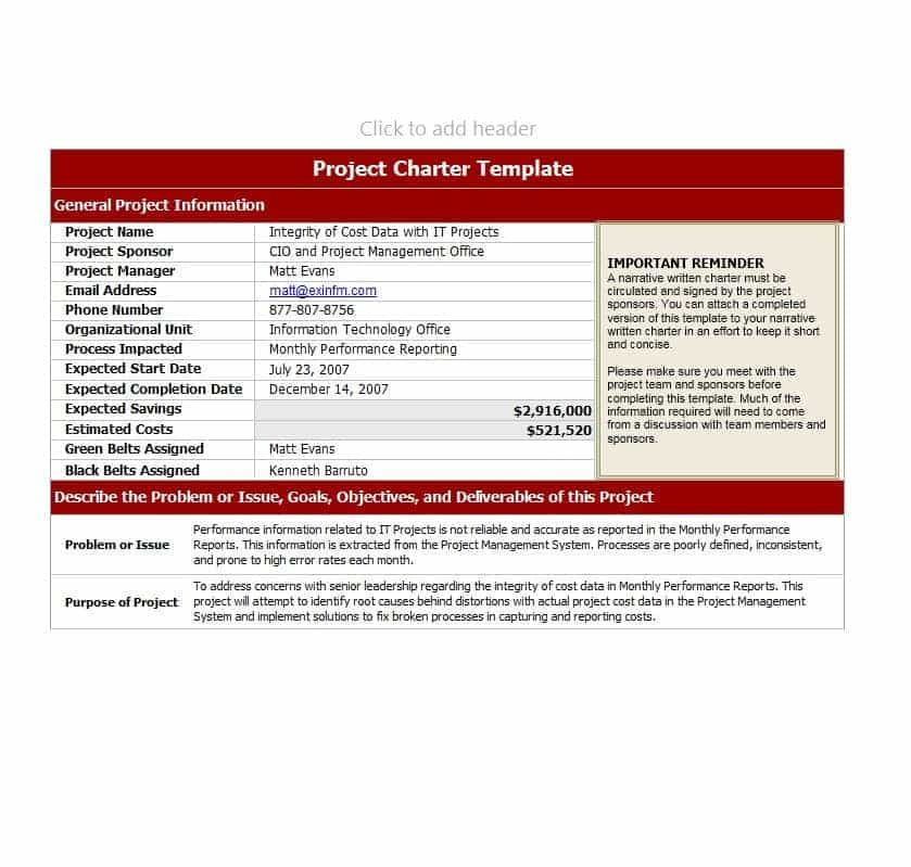 10+ Project Charter Templates Word, Excel  PDF Templates www