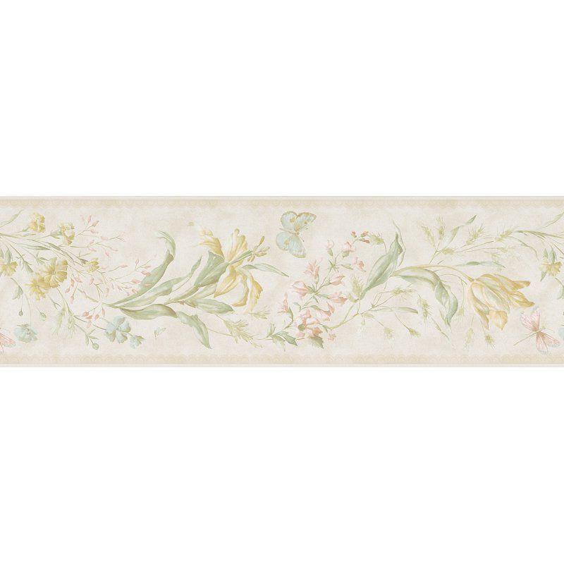 Mirage Libella Butterfly Floral Stripe Wall Border Pearl - 983B01080