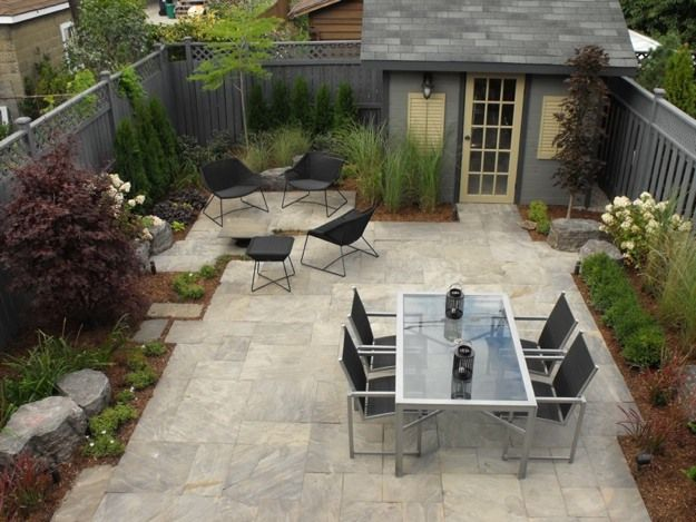 No-grass backyard; dual table set. The detailed landscape ...