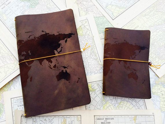 Laser engraved leather journal cover world map design best 3rd laser engraved leather journal cover world map design best 3rd anniversary gift idea on gumiabroncs Gallery