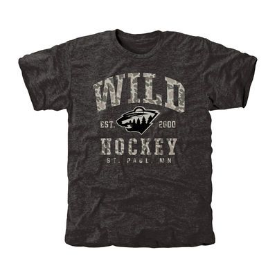 Men's Minnesota Wild Black Camo Stack Tri-Blend T-Shirt