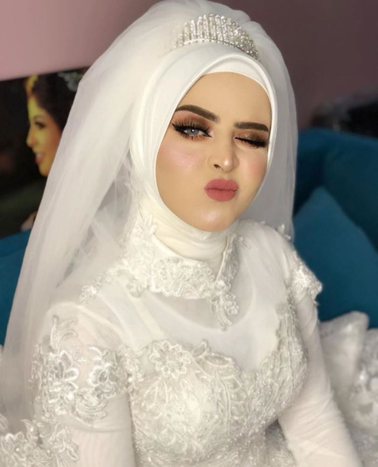 Pinterest: @adarkurdish | Wedding hijab styles, Bridal