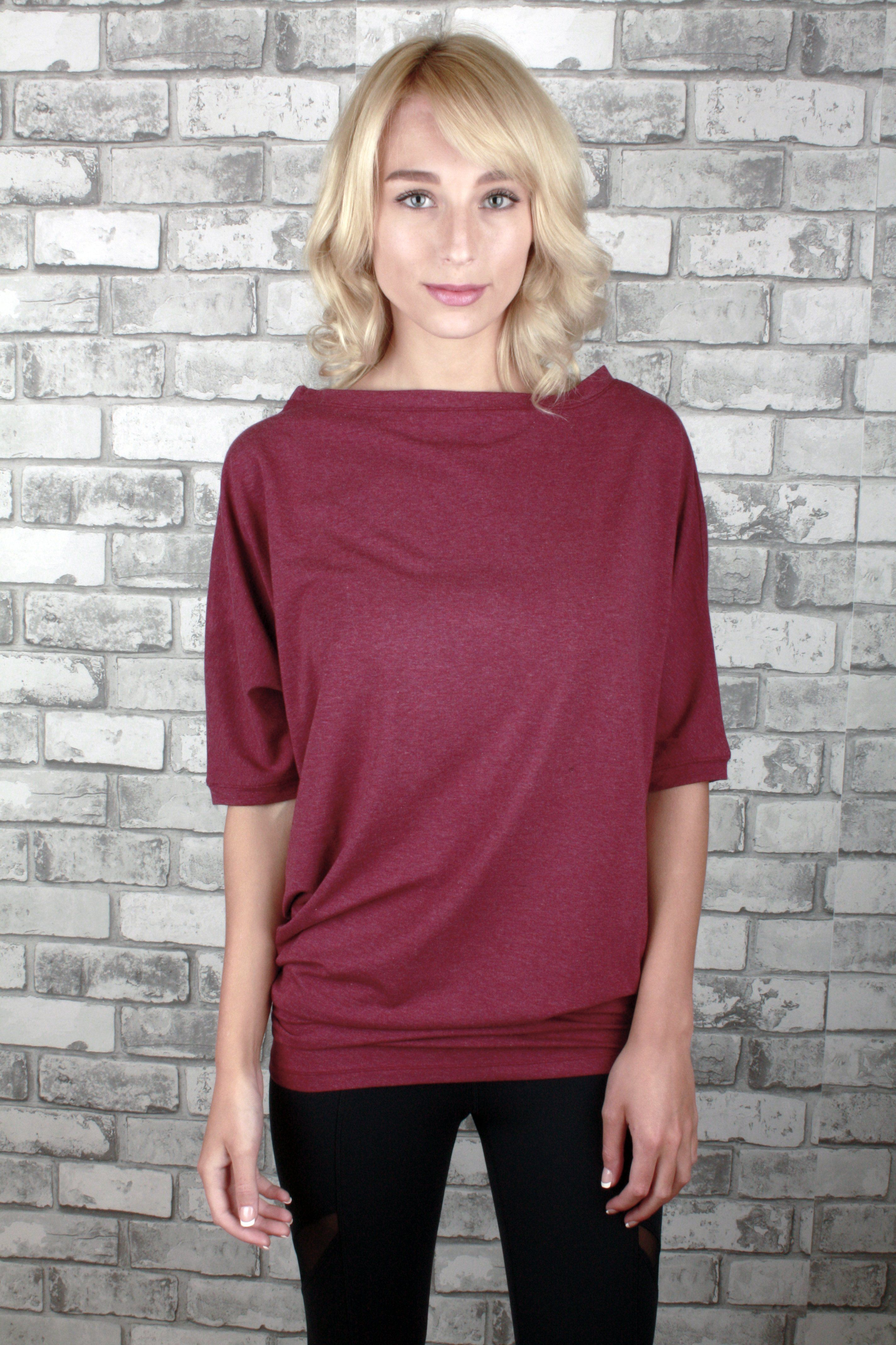 187613022abc ... Bamboo Tops by J76 and Leo Star Athletica. Fanny Dress in Burgundy -  Loose fitting but fitted bottom.