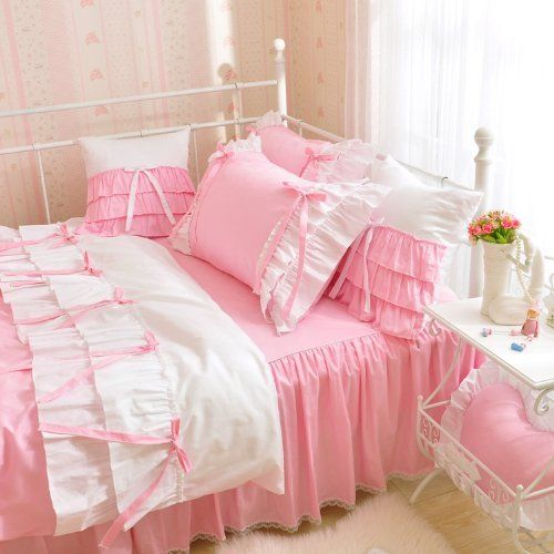 fadfay home textil romantic rose pink design prinzessin bettw sche american country style. Black Bedroom Furniture Sets. Home Design Ideas