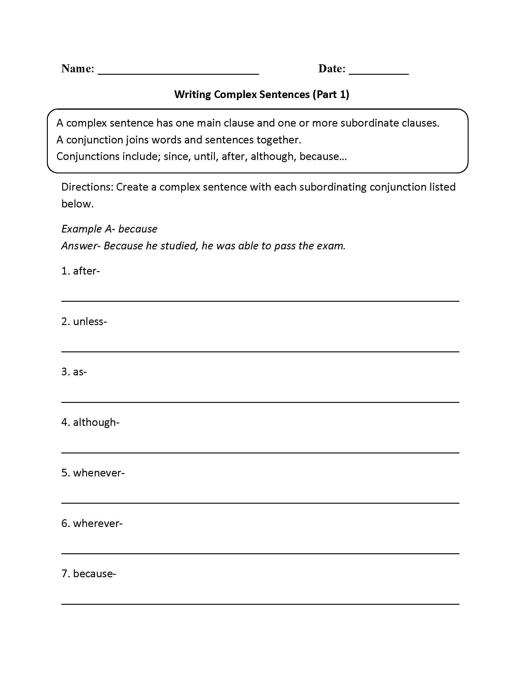Complex Sentences Worksheet Writing Sentences